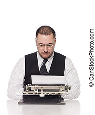 Man writing on a vintage typewriter