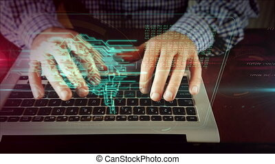 Man writing on laptop keyboard with cybernetic brain - Man...