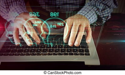 Man writing on laptop keyboard with faces hologram