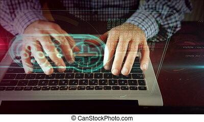 Man writing on laptop keyboard with gamepad hologram