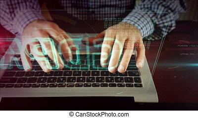 Man writing on laptop keyboard with gdpr hologram