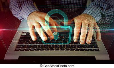 Man writing on laptop keyboard with padlock