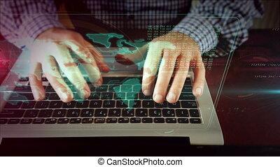 Man writing on laptop keyboard with world map