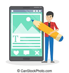 Man writing post for the blog in the internet. Creative content. Working as copywriter or editor. Vector illustration in cartoon style