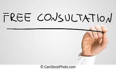 Man writing the words - Free Consultation - with a black...