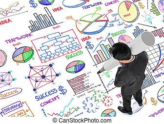 Man writing working plan