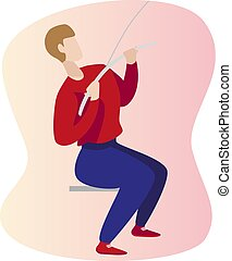 man wrong and right lat pull down posture - exercise gym. Fitness pulldown illustration.