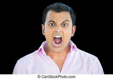 man yelling - Closeup portrait, bitter, displeased pissed...