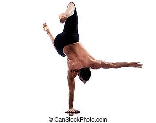 Man yoga handstand portrait gymnastic acrobatics posture isolated studio on white backgroun