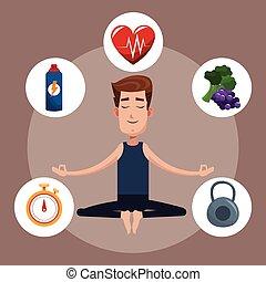 man yoga healthy sport icons