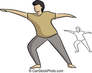 man yoga poses vector illustration sketch doodle hand drawn with black lines isolated on white background