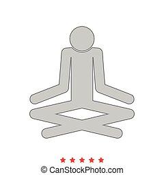 Man yoga stick icon . Different color .