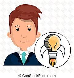 man young idea icon