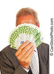 man, zakelijk, eurobiljetten
