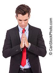 man, zakelijk, jonge, biddend