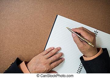 man, zakelijk, schrijvende
