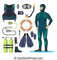 man., zambullidor de la escafandra autónoma, juicio que zambulle, snorkeling