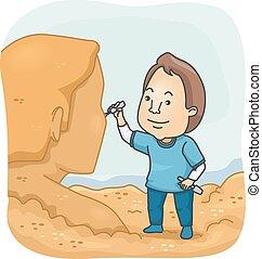 man, zand, beeldhouwer
