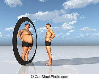 man, ziet, anderen, zelf, in, spiegel