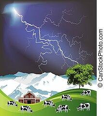 manada, pasto, vacas