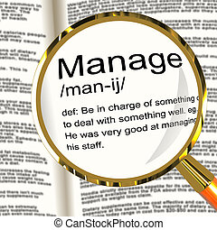 Manage Definition Magnifier Shows Leadership Management And...
