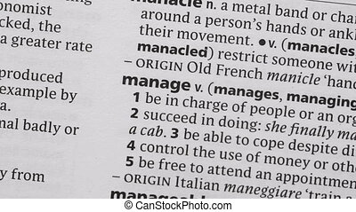 Manage highlighted in green in the dictionary