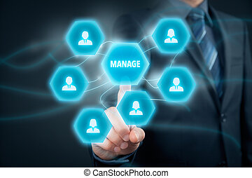Manage management - Manager click on button with text manage...