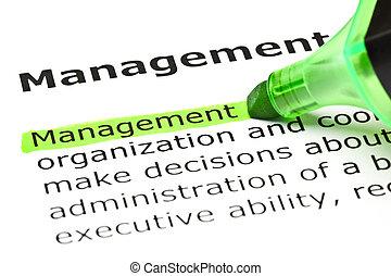 'management', 突出, 在中, 绿色
