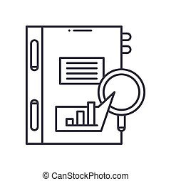Management analysis icon, linear isolated illustration, thin line vector, web design sign, outline concept symbol with editable stroke on white background.