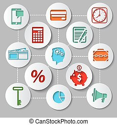 Management and finance flat design icon set