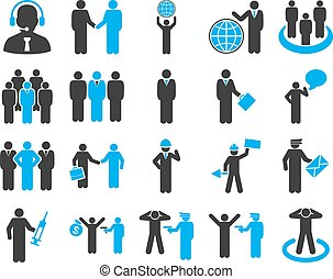 Management and people occupation icon set. These flat bicolor symbols use modern corporate light blue and gray colors. Vector images are isolated on a white background. Angles are rounded.