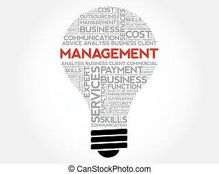 Management bulb word cloud