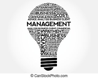 Management bulb word cloud