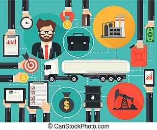 Management business oil flat with gasoline tanker