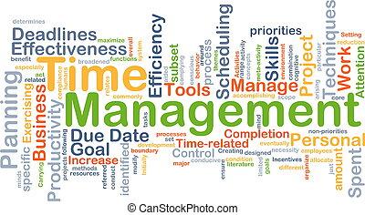 management, concept, achtergrond, tijd
