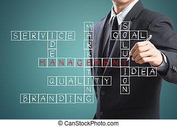 management, concept, man, schrijvende