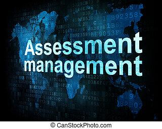 Management concept: pixelated words Assessment management on...