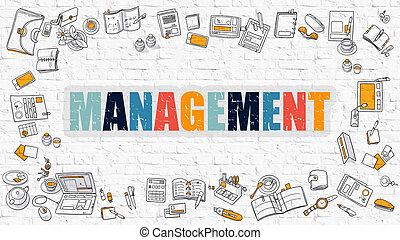 Management Concept with Doodle Design Icons.