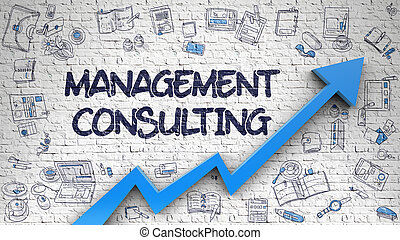 Management Consulting Drawn on Brick Wall. 3d.