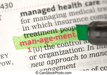 Management definition highlighted in green