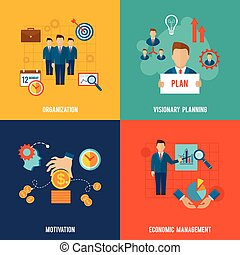Management Flat Set - Management design concept set with ...