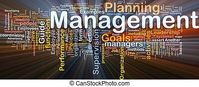 management, gloeiend, concept, achtergrond
