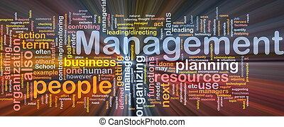 management, gloeiend, concept, been, achtergrond