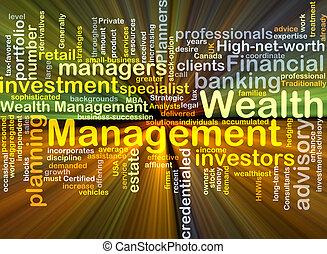 management, gloeiend, concept, rijkdom, achtergrond