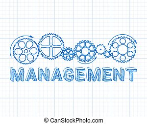 Management Graph Paper - Management text with gear wheels...