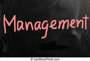 """Management"" handwritten with white chalk on a blackboard"