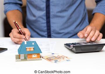 management, het berekenen, concept, woning, kosten, eigendom