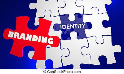management, het brandmerken, raadsel, illustratie, marketing, identiteit, 3d