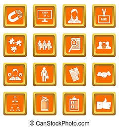 management, hulpbron, iconen, set, menselijk, sinaasappel