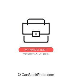 Management icon. Briefcase, portfolio, office, business concepts. Premium quality graphic design element. Modern sign, linear pictogram, outline symbol, simple vector thin line icon